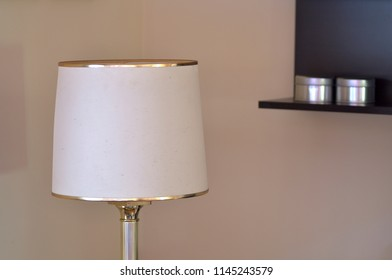 interior design, bell lamp and metal containers