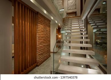 Interior design: Big modern house stairs