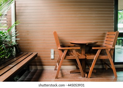 Interior design of coffee shop with a table and chairs