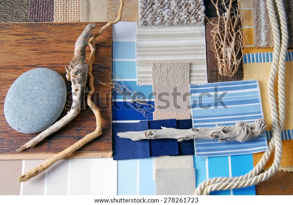 interior design color and  upholstery planning and sea and marina style concept
