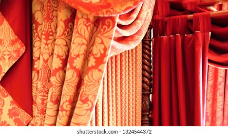 interior design curtains soft furnishings displayed in a hotel room no people stock photo