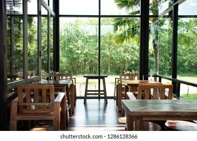 Interior design and decor furniture of coffee shop and restaurant for people visit eat and drinks at Muak Lek District in Saraburi, Thailand