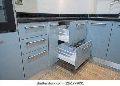 Interior design decor of kitchen in luxury apartment showing closeup detail of cupboards