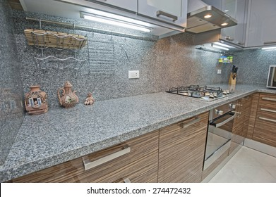 Interior design decor of kitchen in luxury apartment with appliances