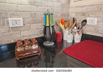 Interior design decor showing modern kitchen utensils in luxury apartment showroom
