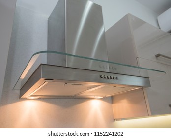 Interior design decor showing modern extractor fan appliance in luxury apartment showroom