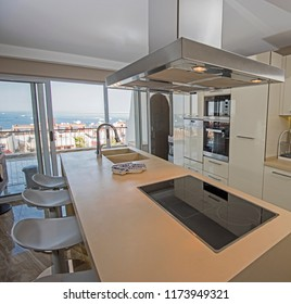 Interior design decor showing modern kitchen and appliances in luxury apartment showroom with sea view