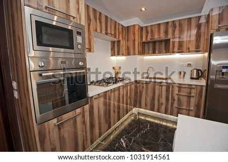 Interior Design Decor Showing Modern Kitchen Stock Photo Edit Now Cool Kitchen Apartment Design Decor