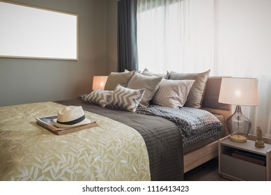 interior design decoration with master suite bedroom, set of pillows on bed