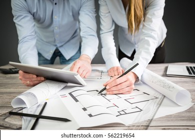 interior design designer planning architecture drawing architect business plan construction sketch concept house illustration creative concept - stock image