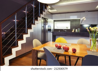 Interior design - dining table and chairs in a kitchen