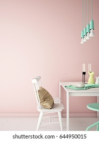 Interior design of dinning area , meeting area with white chair,white table ,white wood floor,and pink wall , vintage style ,pastel color,3d rendering,3d illustration