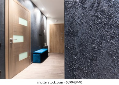 Interior design element - rough gray wall texture in a hall