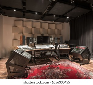 Interior design of empty recording studio with equipment