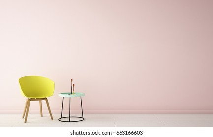Interior design of fashion studio area with pastel pink wall background, white wood floor , yellow chair ,green side table and black lamp ,3d rendering,3d illustration