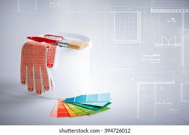 Pantone color scheme images stock photos vectors shutterstock interior design and home renovation concept paintbrush paint pot gloves pantone samplers malvernweather Image collections