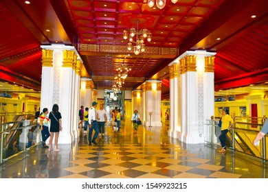 Interior design inside of Sanam Chai MRT station, is designed to resemble a Rattanakosin-style stateroom, MRT Sanam Chai located in front of Museum Siam, Bangkok Thailand, November 2, 2019