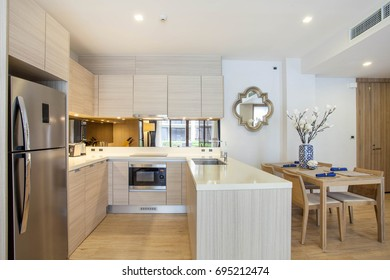 Interior design kitchen with dining table