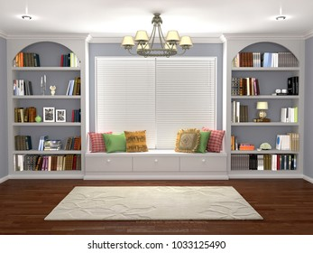 Interior design of the library room with a large window and a window sill. 3d illustration
