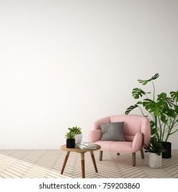 interior design for living area in modern style with plant , armchair ,table and many props on wood floor and gray wall /3d rendering/3d illustartion
