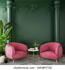 interior design for living area or reception with grey carpet , armchair,plant,cabinet on wood floor and classic green color background / 3d illustration,3d rendering