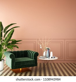 interior design for living area or reception with deep pink wall , armchair , plant on tile floor and classic wall background / 3d illustration,3d rendering