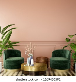 interior design for living area or reception with deep pink wall , armchair,plant,on tile floor and green and pink classic wall background / 3d illustration,3d rendering