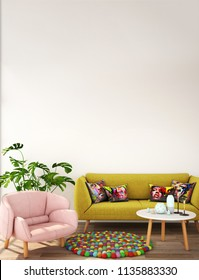 interior design for living area or reception with white wall , sofa, plant on wooden floor and green and pink white wall background / 3d illustration,3d rendering