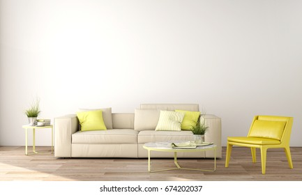interior design of living area with sofa, table ,wood floor and yellow color wall ,3d rendering,3d illustration