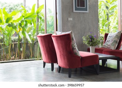 interior design living room modern style with red sofa furniture