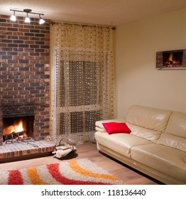 Interior design of living room in a new house with fireplace