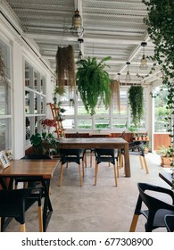 Interior design of a loft style, Coffee shop, cafe.