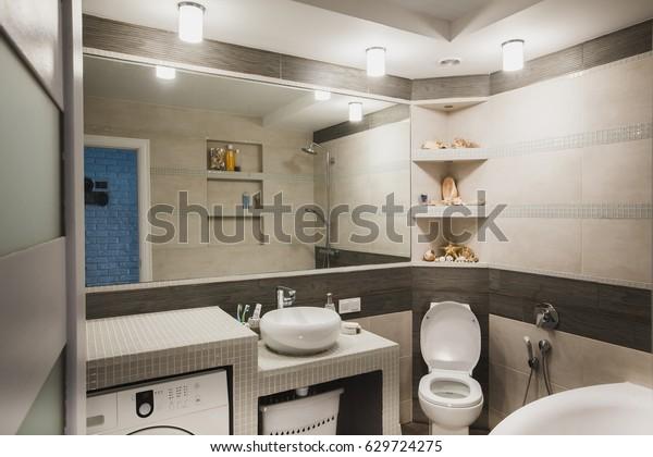 . Interior Design Luxury Bathroom Washroom Washbasin Stock Photo  Edit
