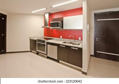 Interior design of a luxury modern kitchen.