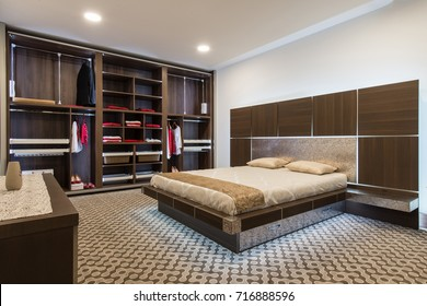 Interior design of master bedroom in luxury home