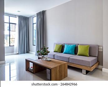 Interior design of minimalist modern Living room with sofa