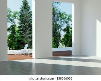 Interior design, modern architecture, new empty house.