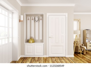 Interior design of modern hall with doors 3d rendering
