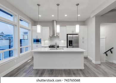 Interior design of a modern kitchen.
