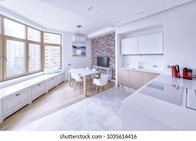 Interior design modern kitchen in the new house.