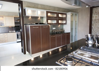 interior design of a modern kitchen in a new apartment