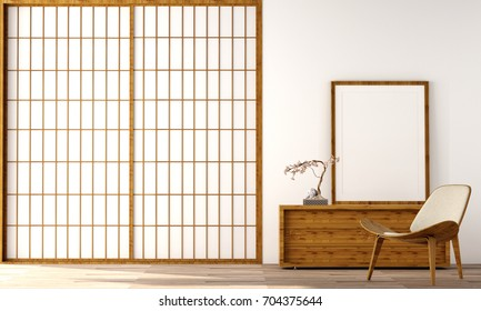 interior design in modern living room with empty frame on cabinet and wood floor and  white wall that was designed in japanese style,3d illustration,3d rendering