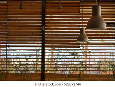 Interior design and object concept - abstract wooden window blinds background.