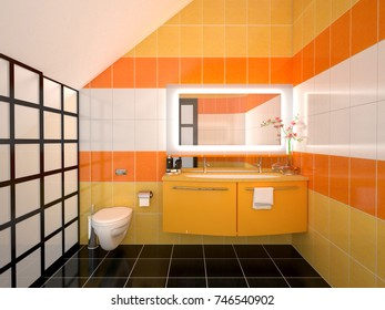 Interior design of an orange bathroom with a washbasin and a toilet. 3d illustration