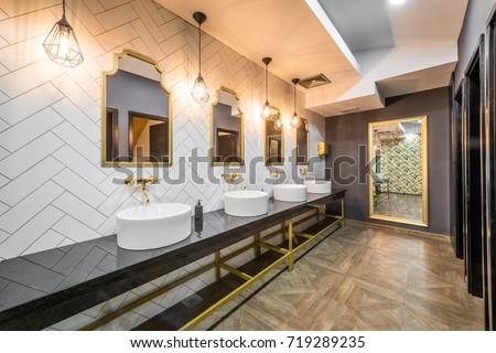 Interior Design Public Toilet Modern Hotel Stock Photo