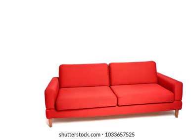 Interior design. Red sofa on white background.