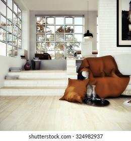Interior design - Rendering of a living room / loft
