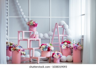 Interior design of room decorated with beautiful flowers