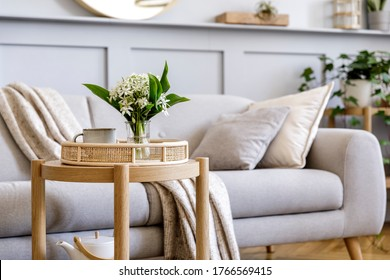 Interior design of scandinavian living room with stylish grey sofa, coffee table, spring flowers, decoration, pillows, plaid, tray and elegant personal accessories in modern home decor. - Shutterstock ID 1766569415