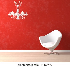 Interior design scene with a modern white armchair and retro lamp on vibrant red wall